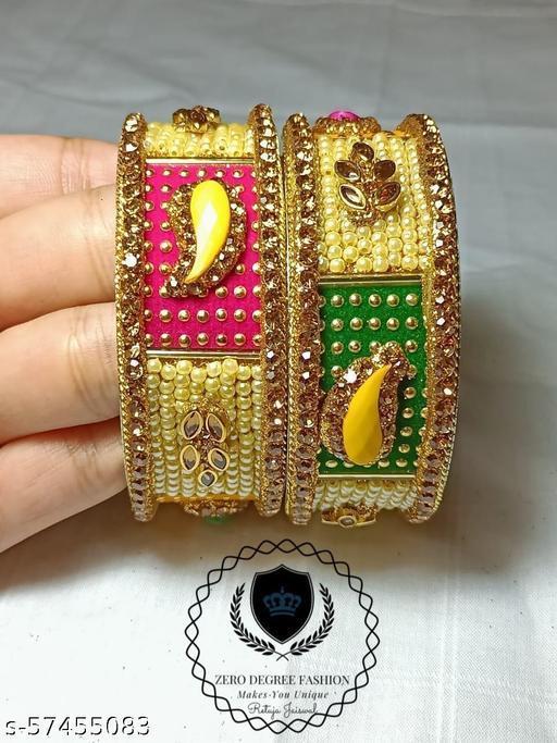 Zero Degree Fashion Designer Marwadi kada bangles Set for women    Girl    (Golden )