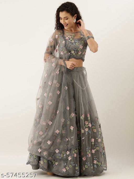 PMD Fashion Embroidered, Embellished Semi Stitched Lehenga Choli