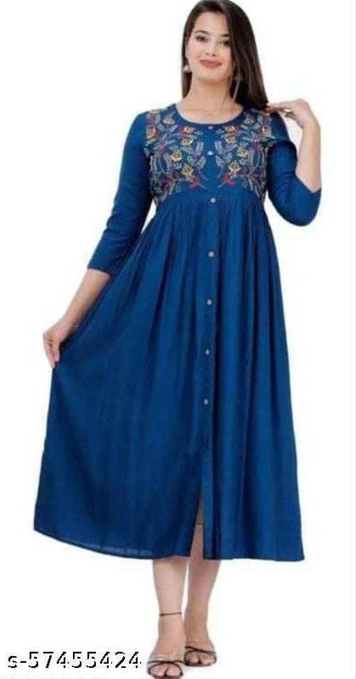 Women Rayon Emb Blue Stylish Short Kurti