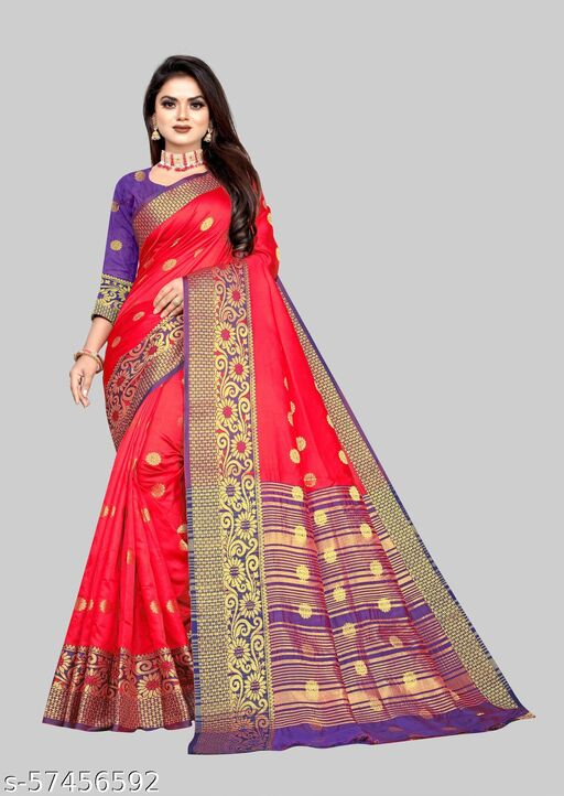 Adorable soft Lichi  Jacquard Fabric With Zari Weaving Work And Zari Butti Design Pretty Saree With Running Blouse Piece