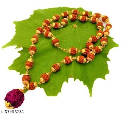 5 Mukhi Rudraksha Mala Gold-plated Plated Brass Chain Wood Chain
