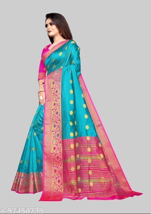 Fancy Soft Lichi  Jacquard Fabric With Zari Weaving Work And Zari Butti Design Pretty Saree With Running Blouse Piece