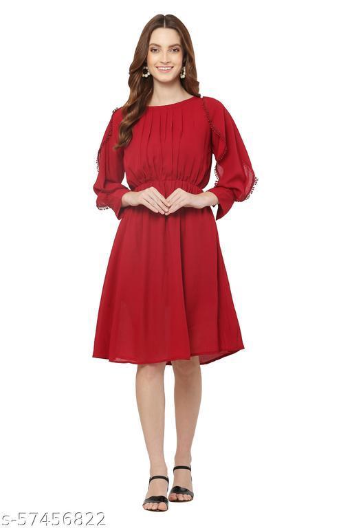 Star Mango Women's Maroon Color Georgette Midi Dress
