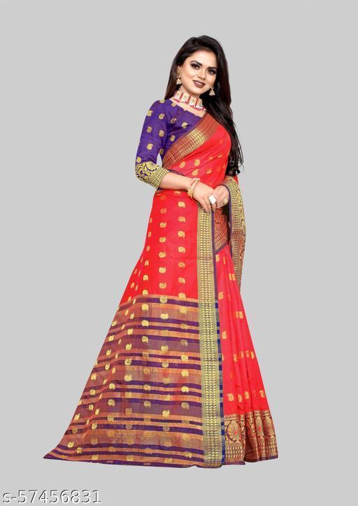 Fashionable soft Lichi Silk Fabric With Zari Weaving Work And Zari Butti Design Pretty Saree With Running Blouse Piece