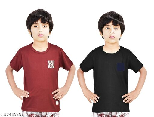 100% Cotton Boys Half Sleeve Solid T-shirt combo With Printed Pocket