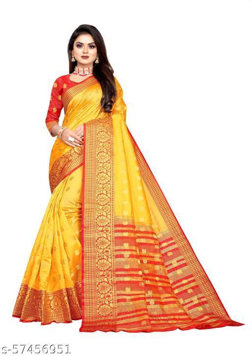 Trendy soft Lichi Silk Fabric With Zari Weaving Work And Zari Butti Design Pretty Saree With Running Blouse Piece