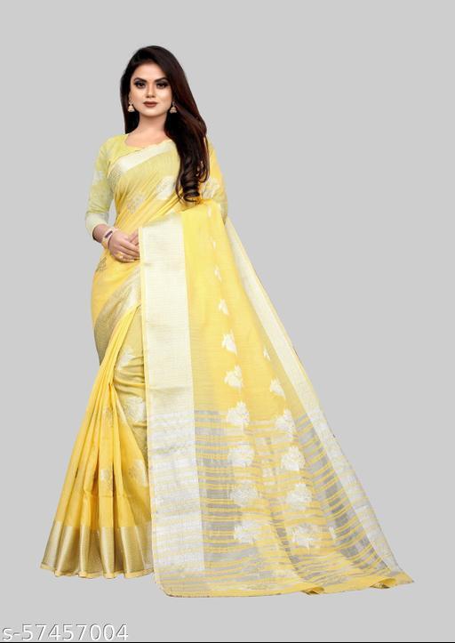 Fashionable Silver Zari-butta Body Banarasi Cotton Fabric Rich Pallu Pretty Saree With Atteched Running Blose Piece