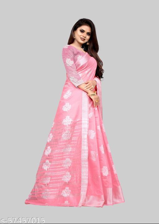 Designer Silver Zari-butta Body Banarasi Cotton Fabric Rich Pallu Pretty Saree With Atteched Running Blose Piece