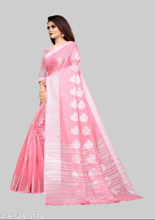 Attractive Silver Zari-butta Body Banarasi Cotton Fabric Rich Pallu Pretty Saree With Atteched Running Blose Piece