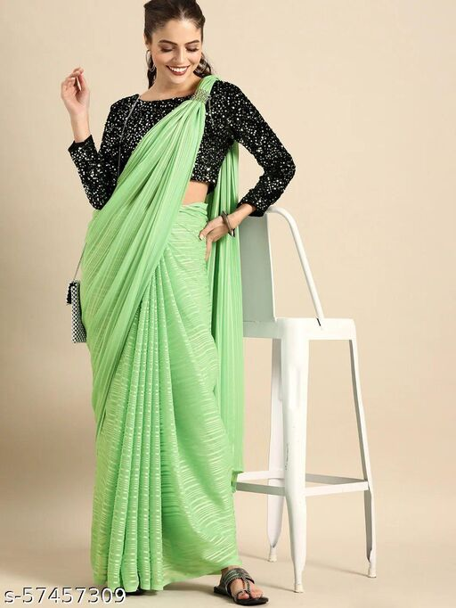 Bollywood Silk Blend  Saree With Atteched Sequence blouse
