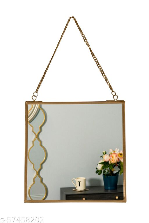 Spaziomaker Collection Home Décor Glass & Metal Hanging Mirror Frame with Glass for Wall Decoration (Golden 8 x 8)