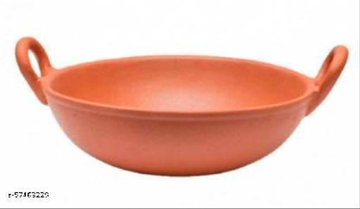All Desi Crafts Clay Kadai/Earthen Product Good for Health Kadhai 18 cm diameter 0.8 L capacity  (Earthenware)