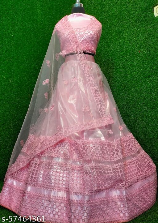 Baby Pink COLORED PARTYWEAR DESIGNER EMBROIDERED NET WITH CancanS & ILK MATERIAL LEHENGA CHOLI