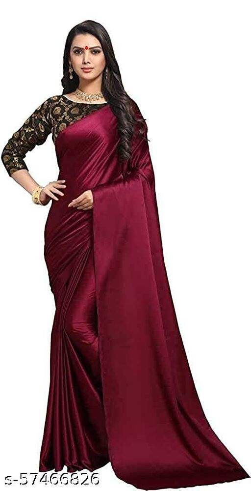 SB COLLECTION Women's Satin Saree with Unstitched Blouse Piece