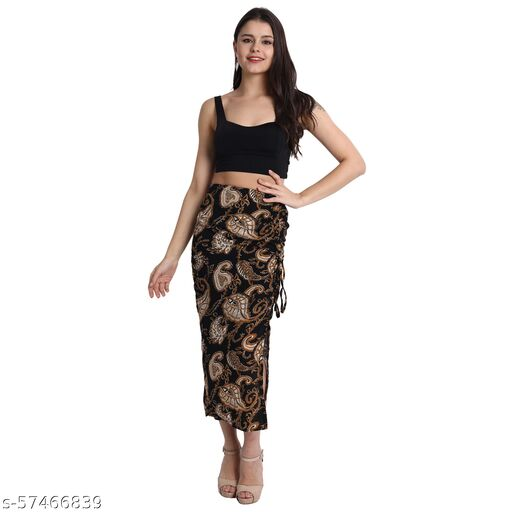 Black One Side Ruched Skirt