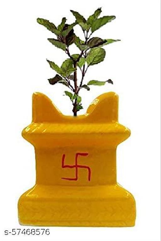 BALSAM Ceramic Planter Pot mandir tulsi 6 Inch -Yellow