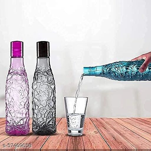 1 LTR Creta Desing Plastic Water Bottle Set ( Set Of 6 ) ( Multicolor)