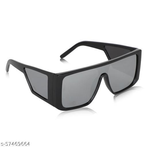 ALCHIKO RS-701 Unisex Full Rim Square Polarized Sunglass with UV Protection, Black Frame, Grey Shade Lens