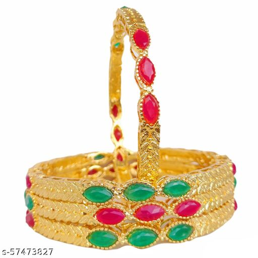 Maroon Green Gold Platted Bangles