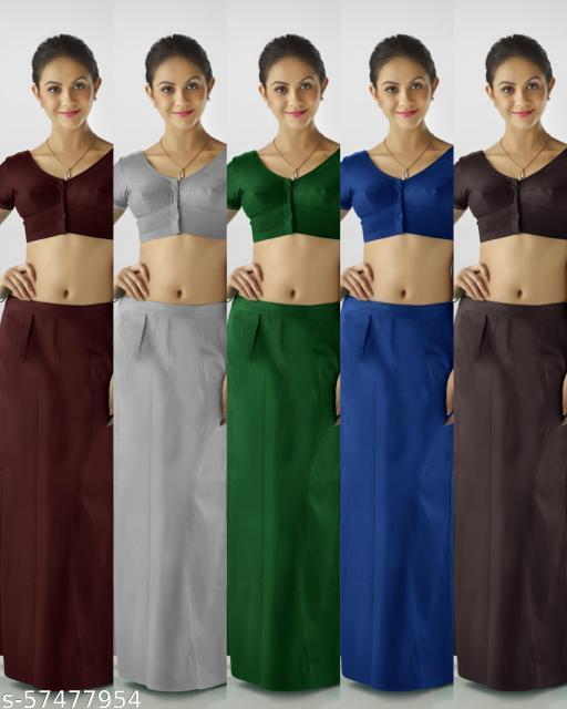 Premium Quality Cotton Petticoat. Pack of 5 (MAROON, LIGHT GREY, LEAF GREEN, GERMAN BLUE, COFFEE)
