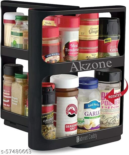Two 2-Tiered Shelves, Modular, Non-Skid Base, Store Prescriptions, Hardware Pull-and-Rotate Spice Rack Organizer, Multicolor, Medium