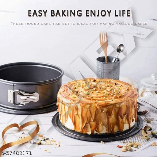 Teflon Coated Spring Form Round Shape Cake Baking tins/pan/Trays Moulds with Removable Base Can be Used Microwave Oven (Set of3 PCS)