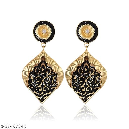 BEGONIA  Dangle Drop Hand Painted Brass Gold Polished Earrings for Women and Girls Fashion Jewelry (Red)
