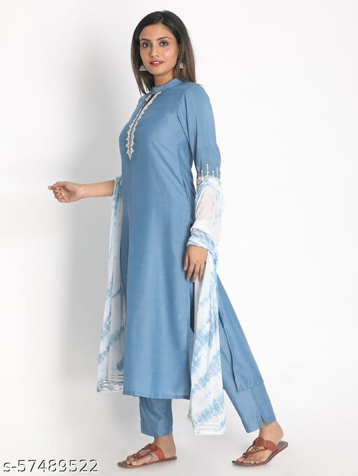 Blue Muslin Embroidered Suit Set