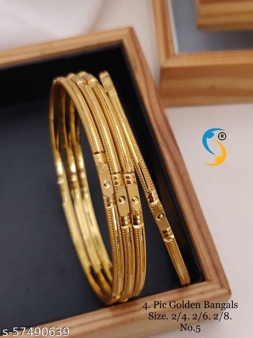 Gold plated bangles - 4 pc