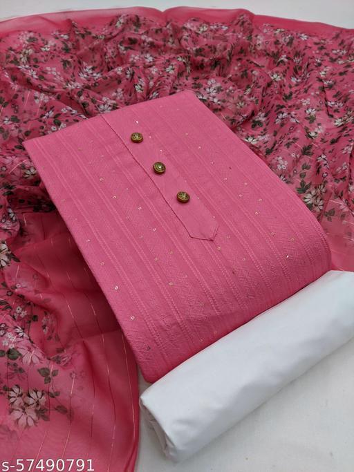 Graceful  sequence weaving dress material with digital print dupatta