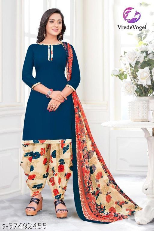 VredeVogel Crepe Print, Solid, Floral Print, Printed Salwar Suit Material