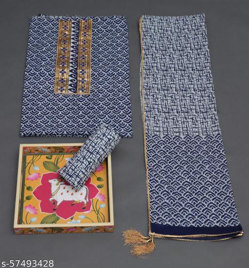 Unstitched Gota Work Cotton Suit with Dupatta