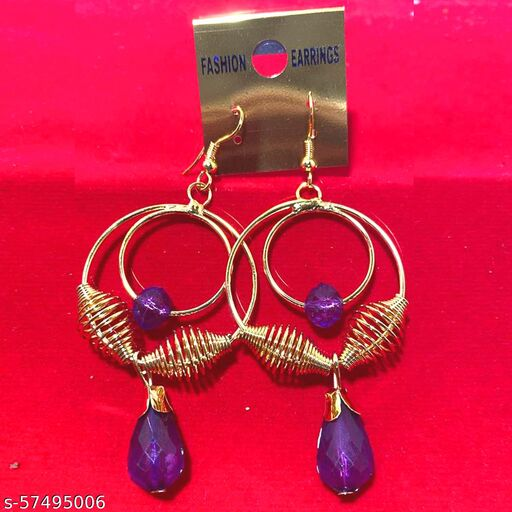 Mattwo 2021 Latest Collection Faishnable Purple Spiral Golden Earrings, Small size for Girls and Woman (Design- Purple Spiral Pearl Diamond)