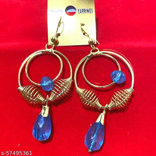 Mattwo 2021 Latest Collection Faishnable Sky Blue Spiral Golden Earrings, Small size for Girls and Woman (Design- Sky Blue Spiral Pearl Diamond)