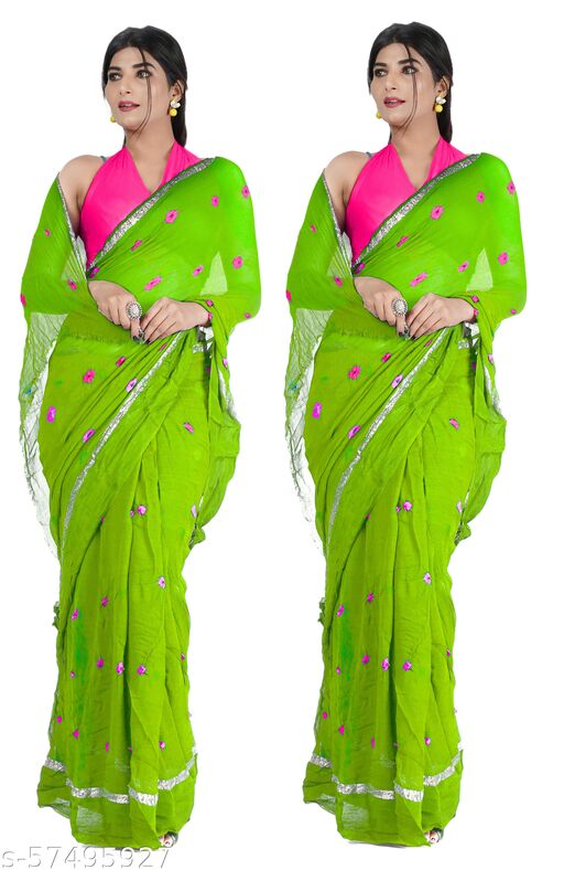 PACU Jaipuri Rajasthani Women Pure Georgette Big Satan Patta Laddu Bandhej Saree With Contrast Blouse P005-S(PKS OF TWO)