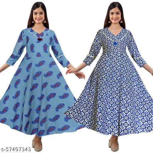 Madhya Fashionable Women's Ethnic Wear Anarkali Kurti (Combo Pack Of 2 Pcs.)