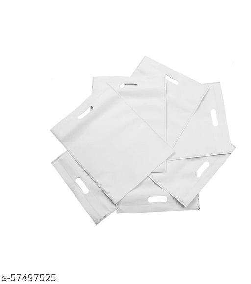 SA TRADING 20 Pcs White Pure Fresh Eco Friendly D Cut Carry Cloth Bag 12x16 Inch