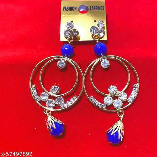 Mattwo 2021 Latest Collection Faishnable Blue Multi Rings Golden Earrings, Small size for Girls and Woman (Design- Blue Multi Rings Pearl Diamond)