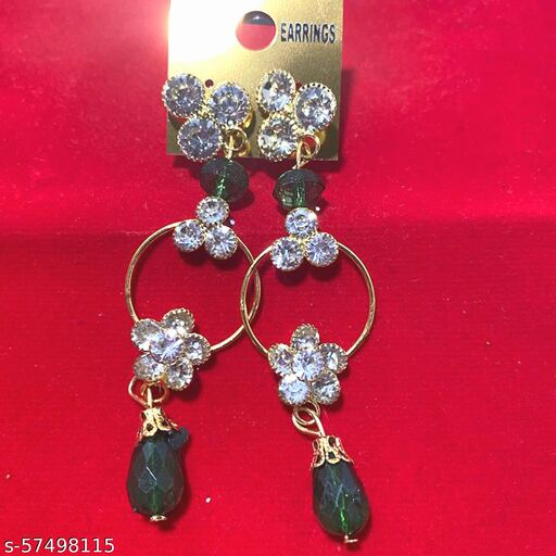 Mattwo 2021 Latest Collection Faishnable Green Golden Earrings, Small size for Girls and Woman (Design- Green Pearl Diamond)