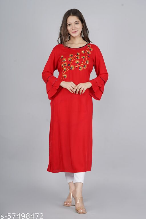 Women Straight  Red Kurti with Petchwork