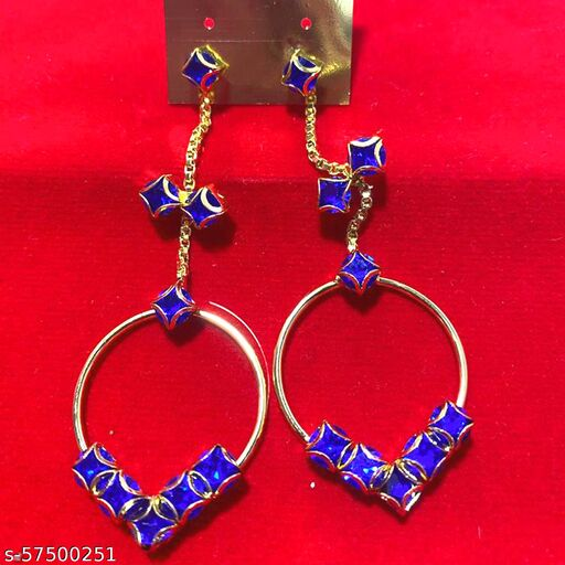 Mattwo 2021 Latest Collection Faishnable Blue VV Golden Earrings, Small size for Girls and Woman (Design- Blue VV Pearl Diamond)