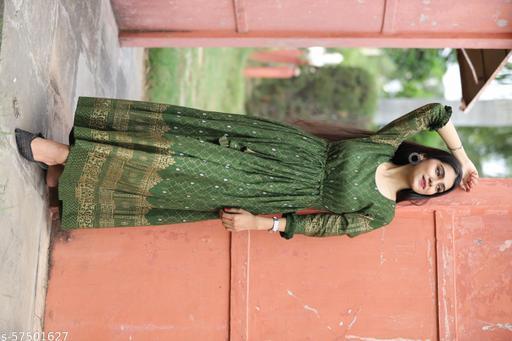 Women Green Anarkali Kurti
