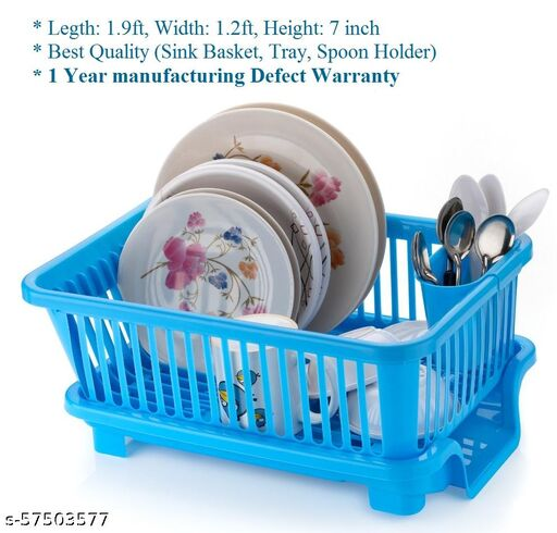 Plastic 3 in 1 Sink Set Dish Rack Drainer Washing Basket with Tray and Spoon Holder for Kitchen, Utensils, Cutlery