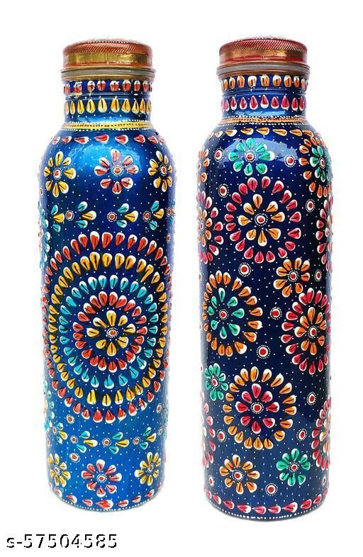 Copper Water Bottle for Ayurveda Heath Benefit (Mix Blue New & Old Bottle) Set Of Two