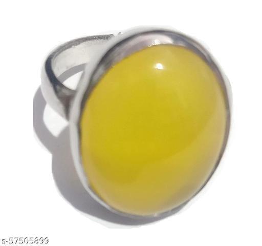 8 - 9 Carat Natural Yellow Sulemani Hakik Ring Adjustable Anguthi (Lab Certified)