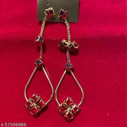 Mattwo 2021 Latest Collection Faishnable Red Square Golden Earrings, Small size for Girls and Woman (Design- Red Square Pearl Diamond)