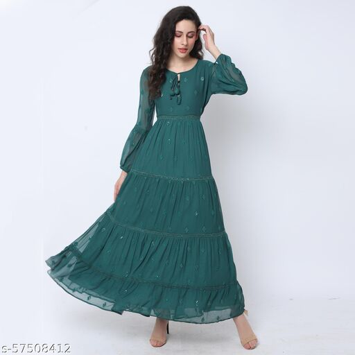 Best Clothing Embroidered Gathered A-Line Dress