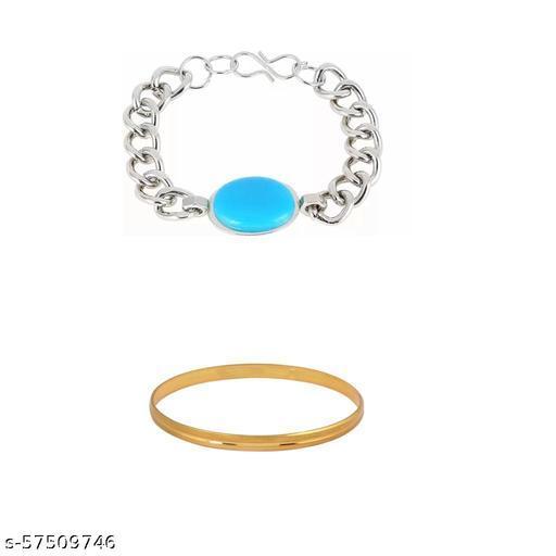 Trendy Silver Bracelet With Golden Kada For Mens/Boys(Set Of 2)