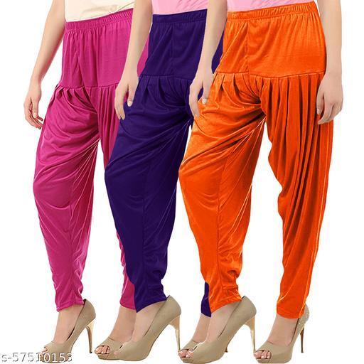 Buy That Trendz Combo Offer Pack of 3 Cotton Viscose Lycra Dhoti Patiyala Salwar Harem Bottoms Pants for Womens Rani Pink Violet Light Orange