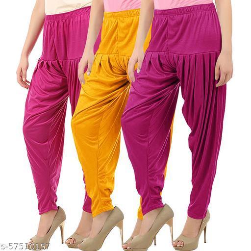 Buy That Trendz Combo Offer Pack of 3 Cotton Viscose Lycra Dhoti Patiyala Salwar Harem Bottoms Pants for Womens Rani Pink Mango Yellow Purple